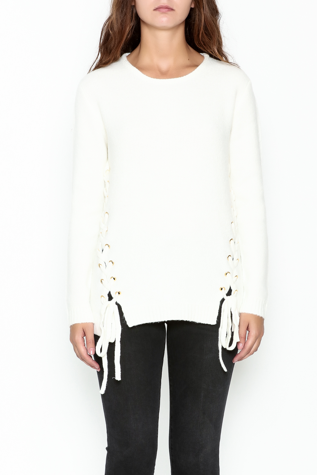Elan Double Laceup Sweater - Front Full Image