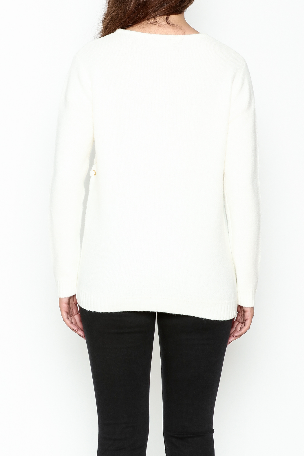 Elan Double Laceup Sweater - Back Cropped Image