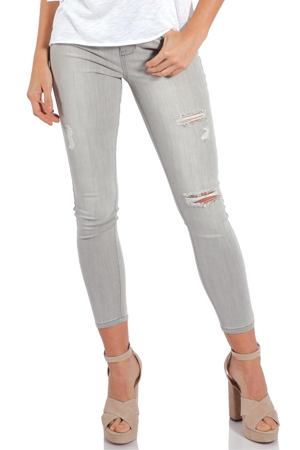Elan Grey Distressed Denim - Front Cropped Image