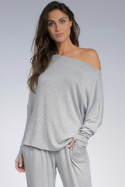 Elan Grey Off The Shoulder Ribbed Top - Product Mini Image