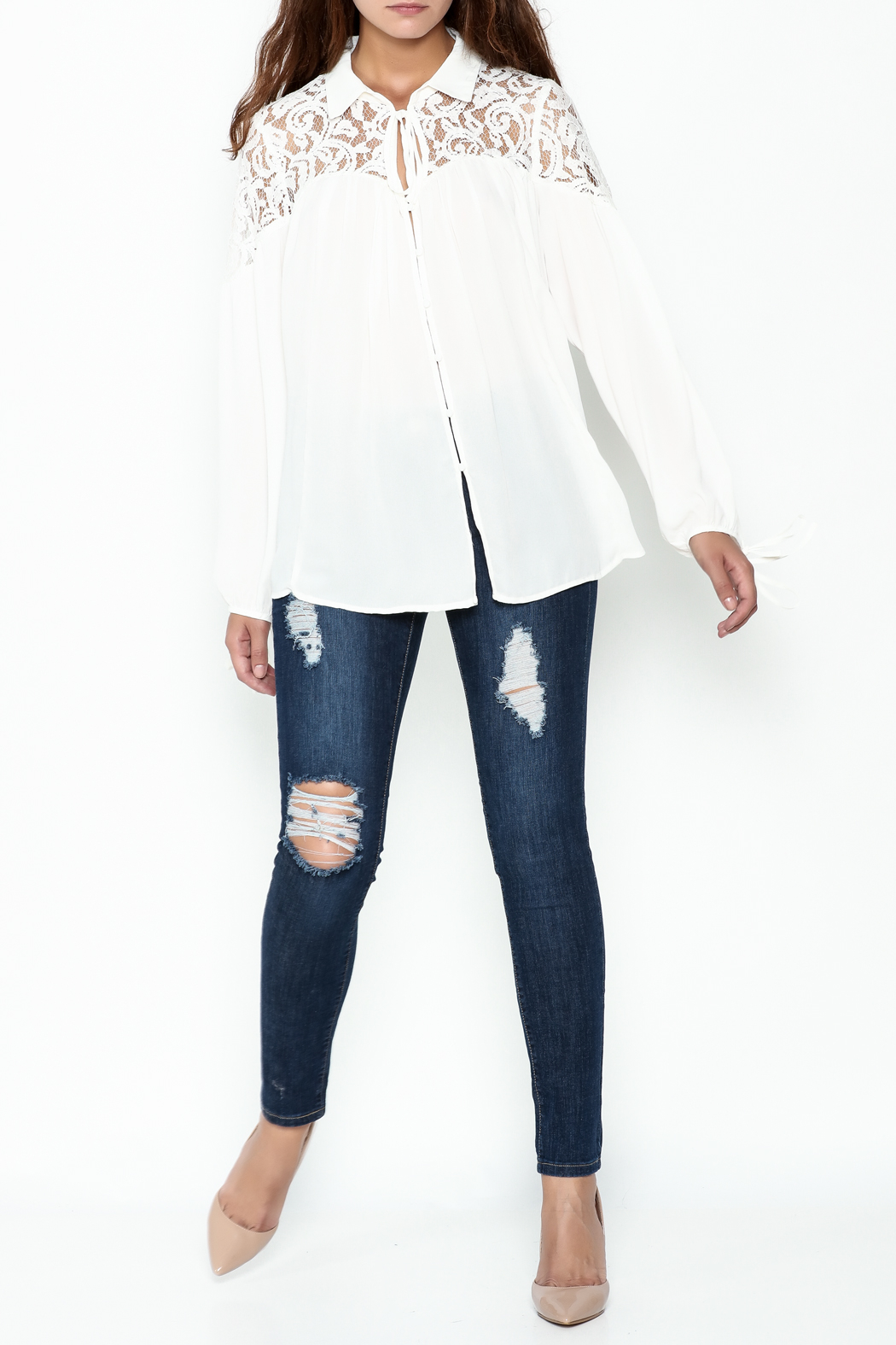 Elan Ivory Lace Blouse - Side Cropped Image