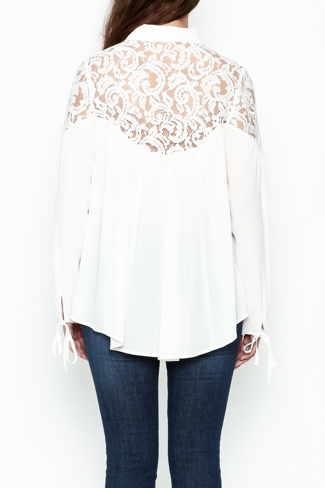 Elan Ivory Lace Blouse - Back Cropped Image