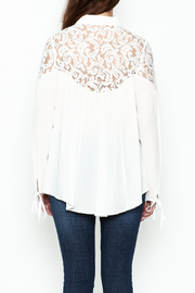 Elan Ivory Lace Blouse - Back cropped