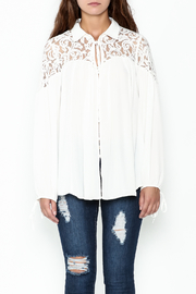 Elan Ivory Lace Blouse - Front full body