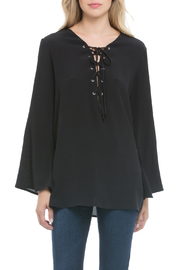 Elan Lace Up Neck Blouse - Product Mini Image