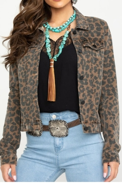 Elan Leopard Jean Jacket - Product List Image