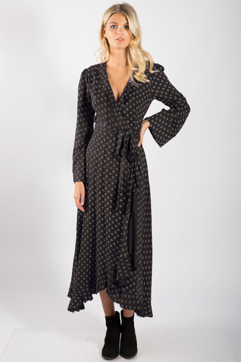 Elan Long Sleeve Maxi Wrap Dress from Golden by Truly BoHotique — Shoptiques