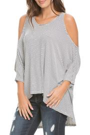Elan Navy Cold Shoulder Top - Product Mini Image