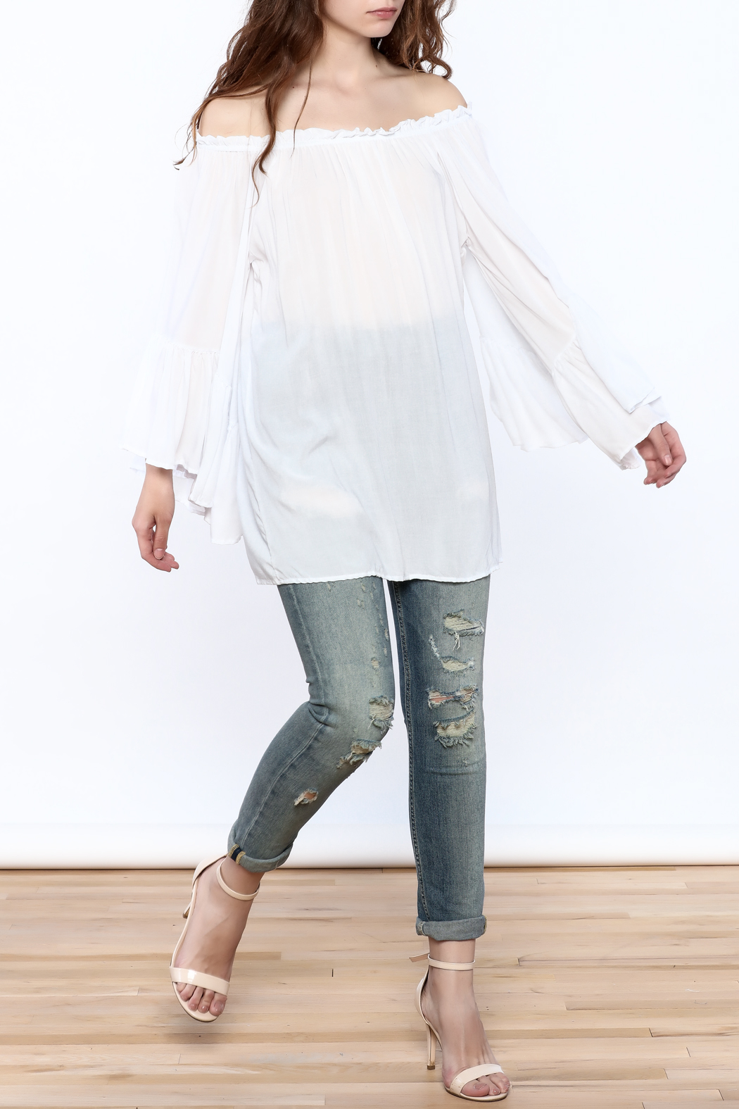 Elan Flowy White Tunic Top - Front Full Image