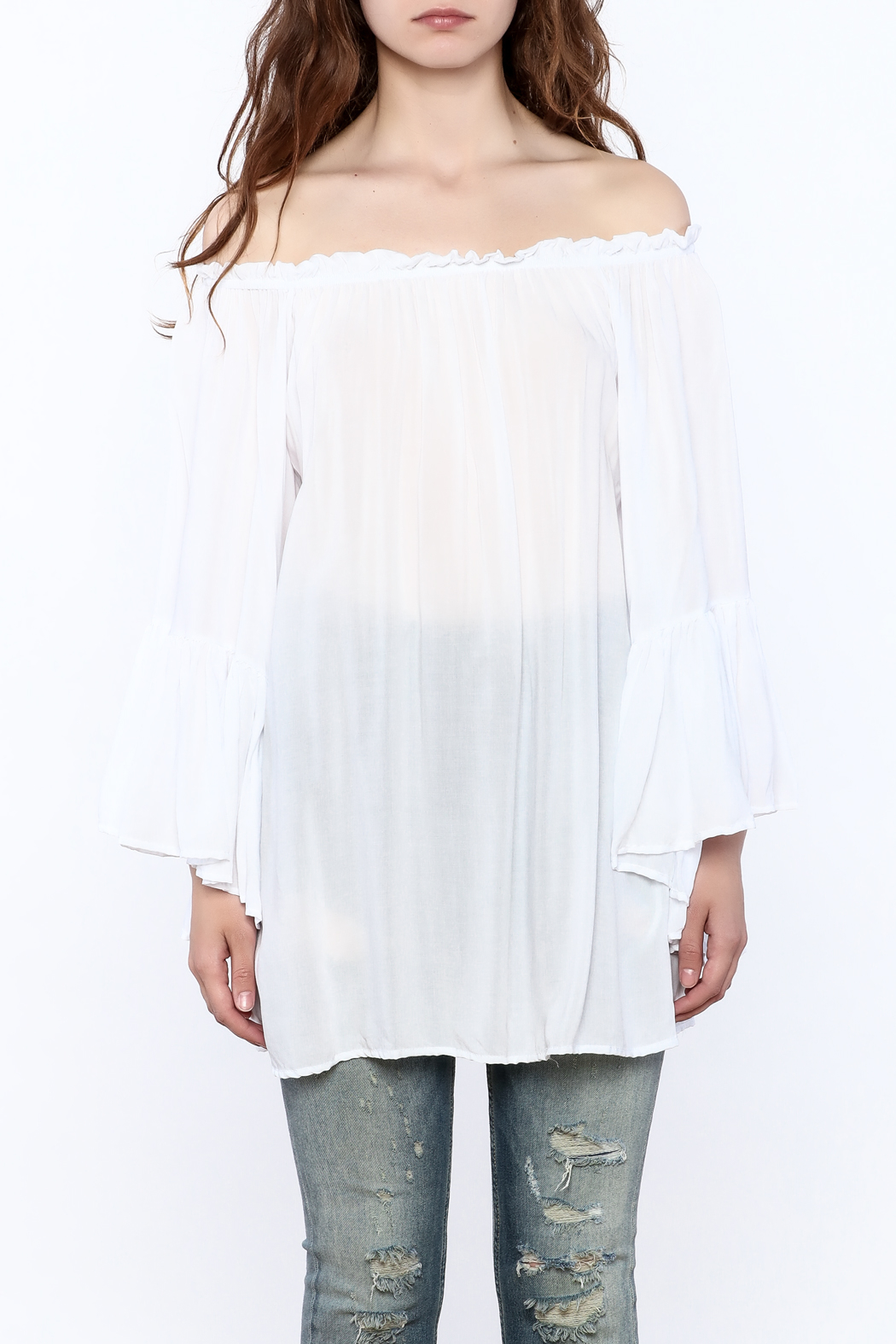 Elan Flowy White Tunic Top - Side Cropped Image