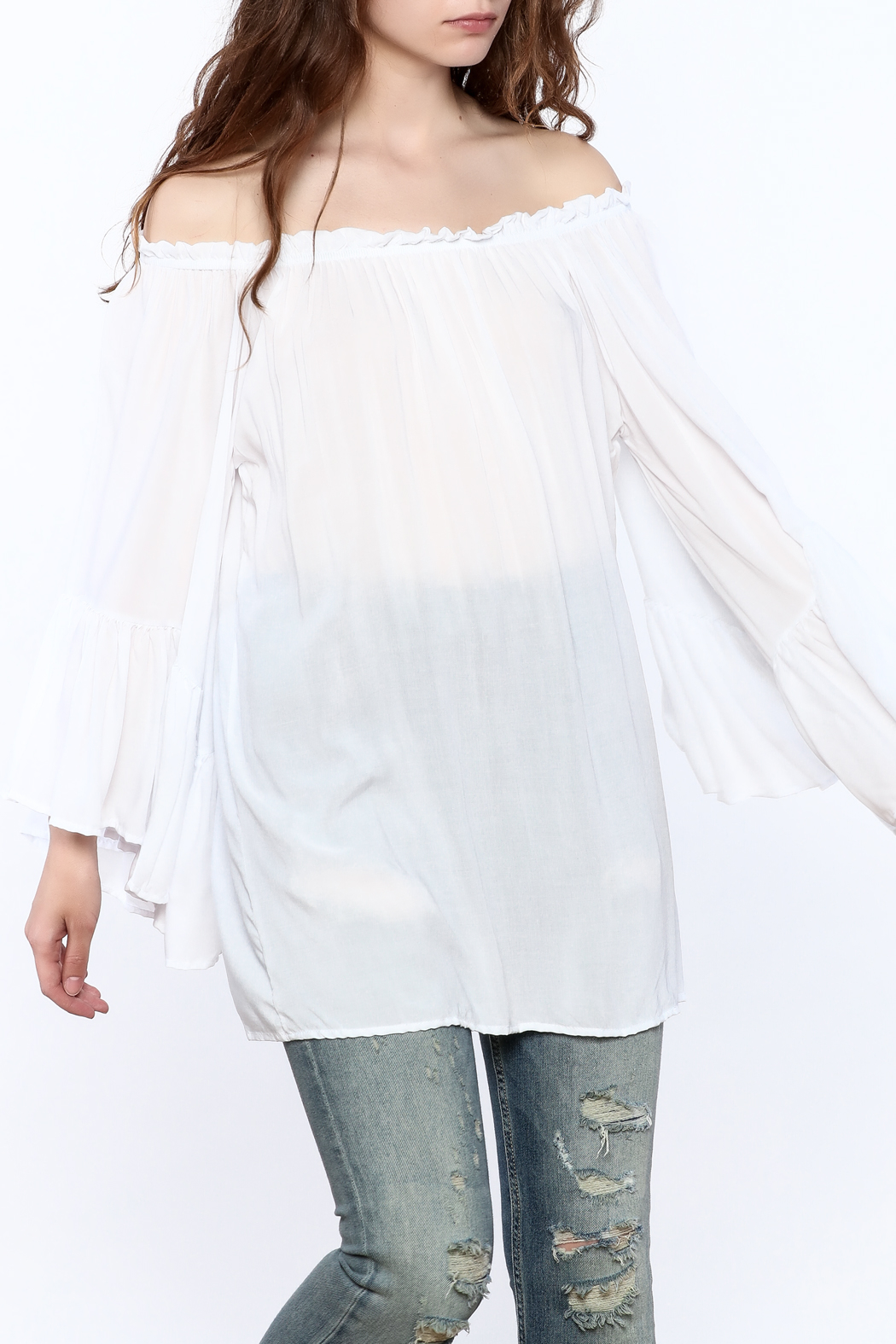 Elan Flowy White Tunic Top - Front Cropped Image