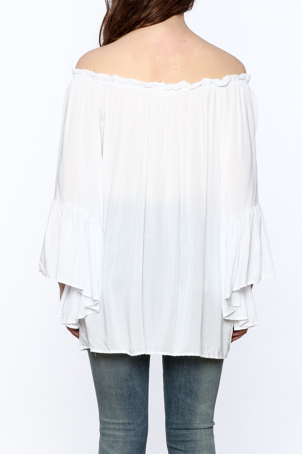 Elan Flowy White Tunic Top - Back Cropped Image