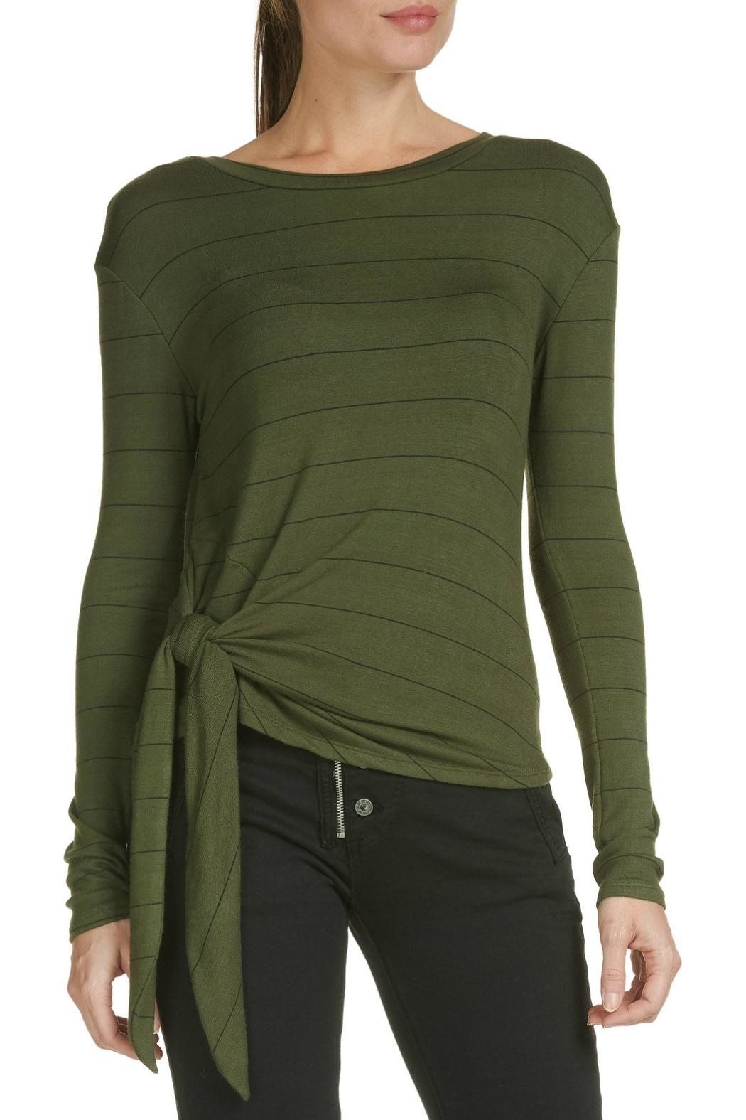 Elan Olive Striped Top - Main Image