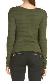 Elan Olive Striped Top - Front full body