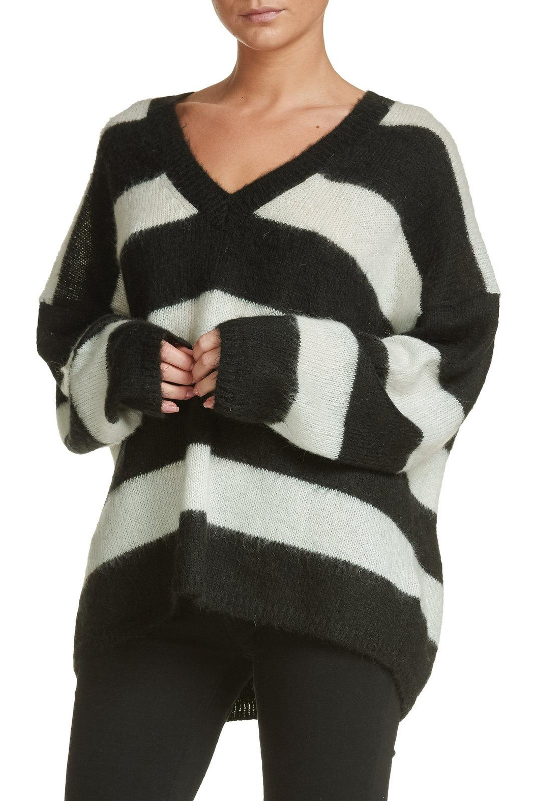 Elan Oversized Striped Sweater - Front Full Image