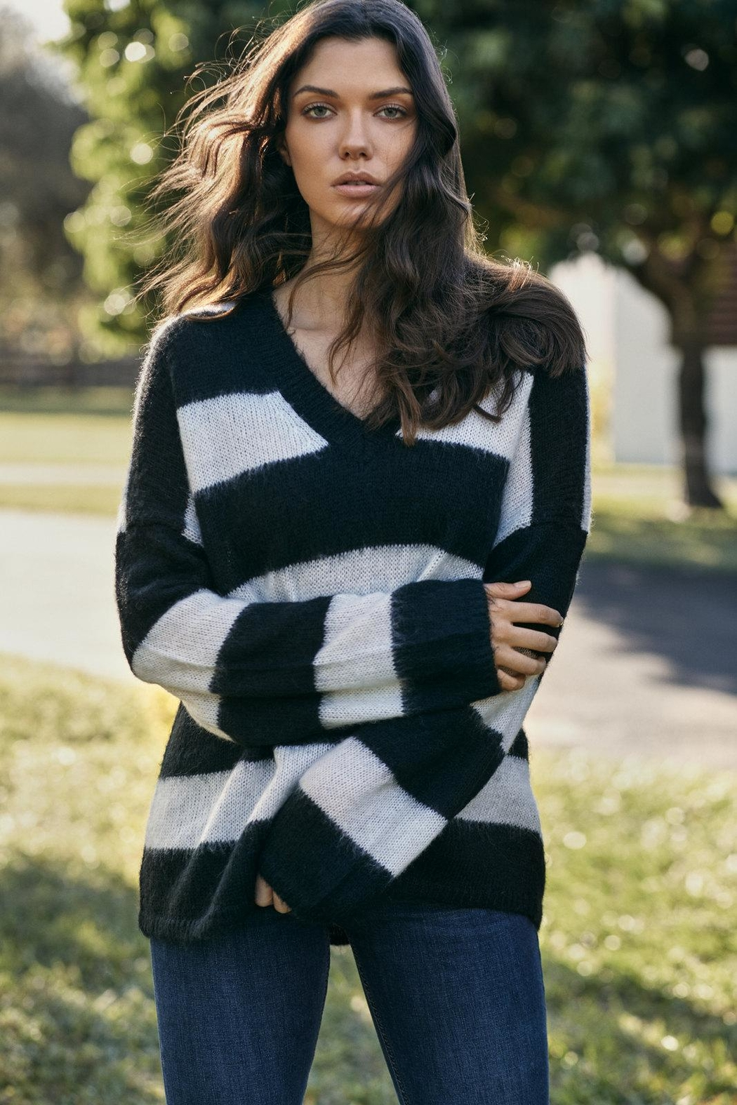 Elan Oversized Striped Sweater - Main Image
