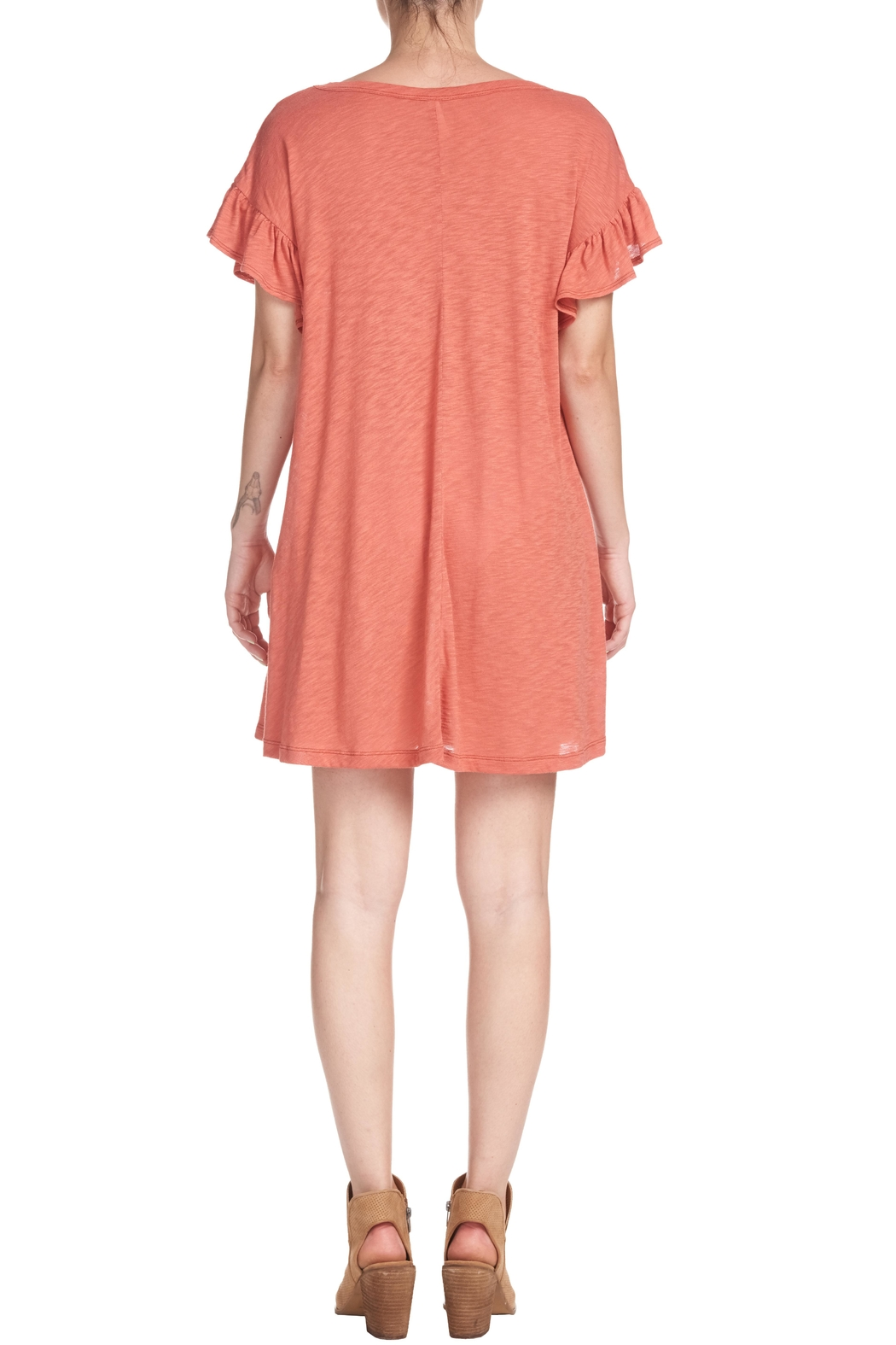 Elan Ruffle T-Shirt Dress - Front Full Image