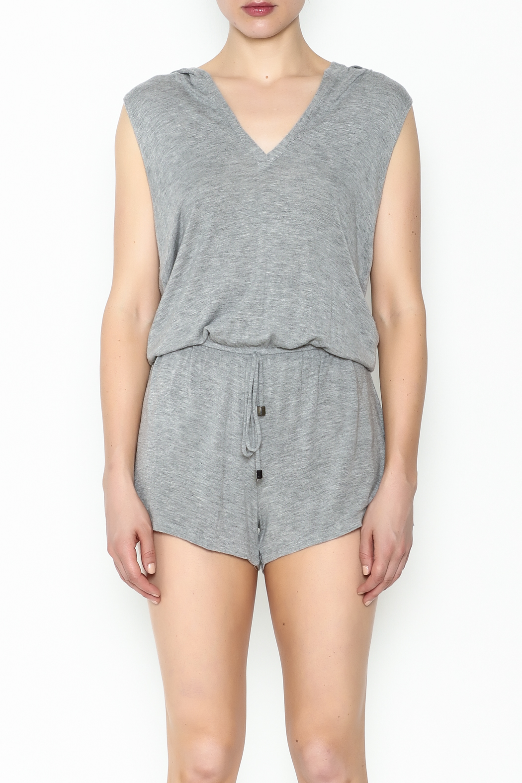 Elan Sleeveless Hooded Romper - Front Full Image