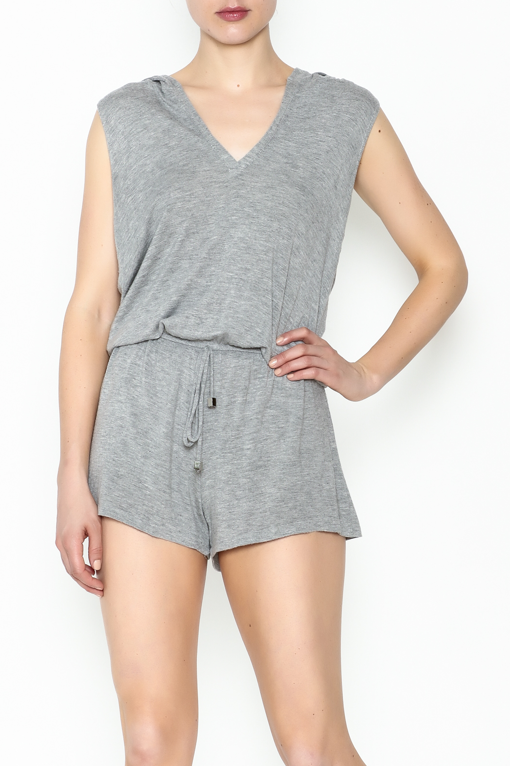Elan Sleeveless Hooded Romper - Front Cropped Image