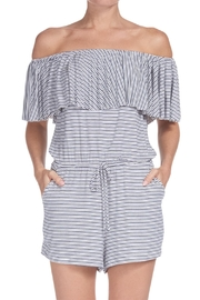 Elan Stripe Off-The-Shoulder Romper - Product Mini Image
