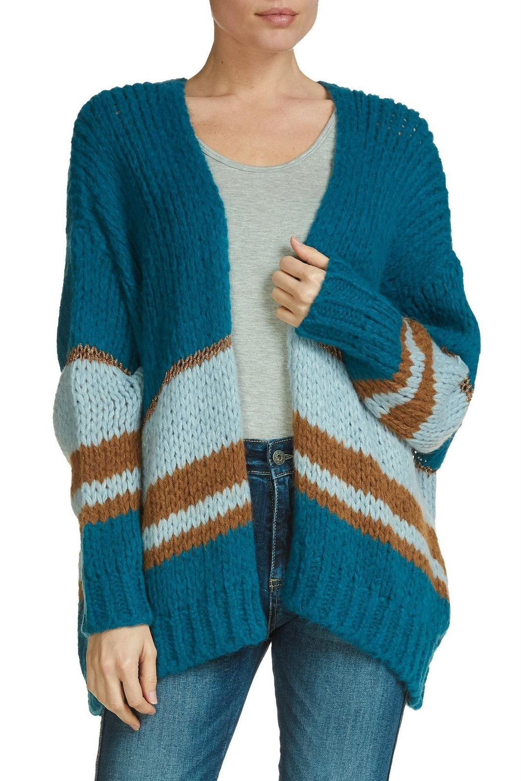 Elan Striped Open Cardigan - Main Image