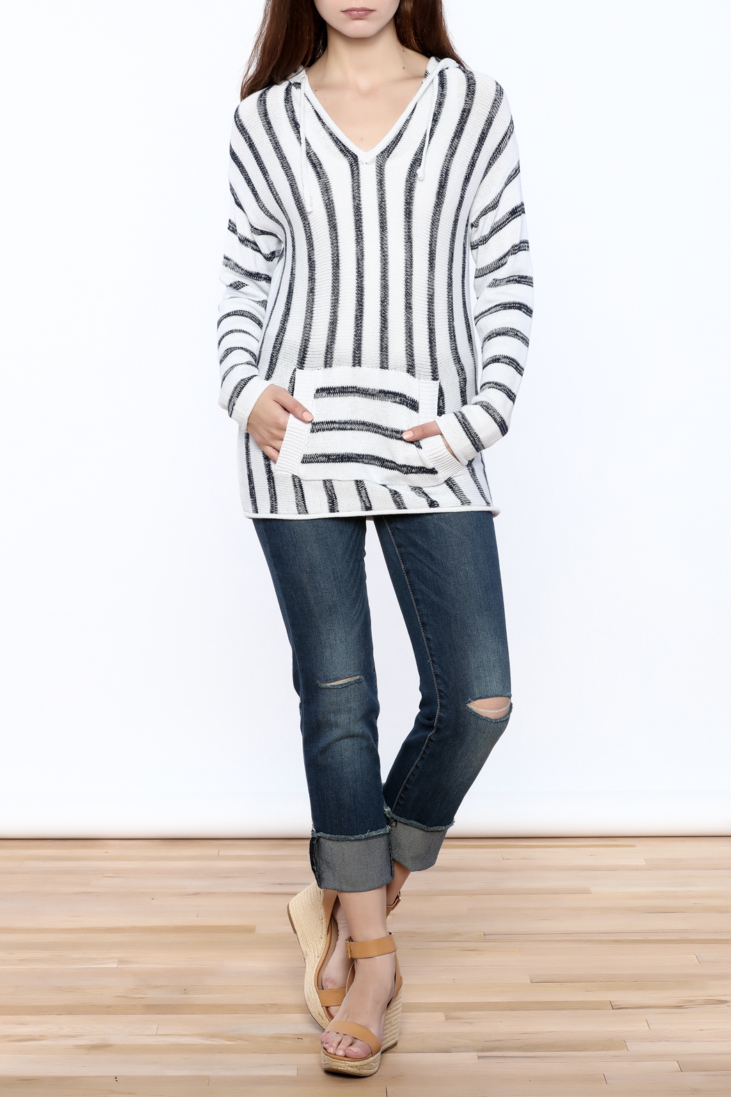 Elan Striped Pullover Hoodie - Front Full Image