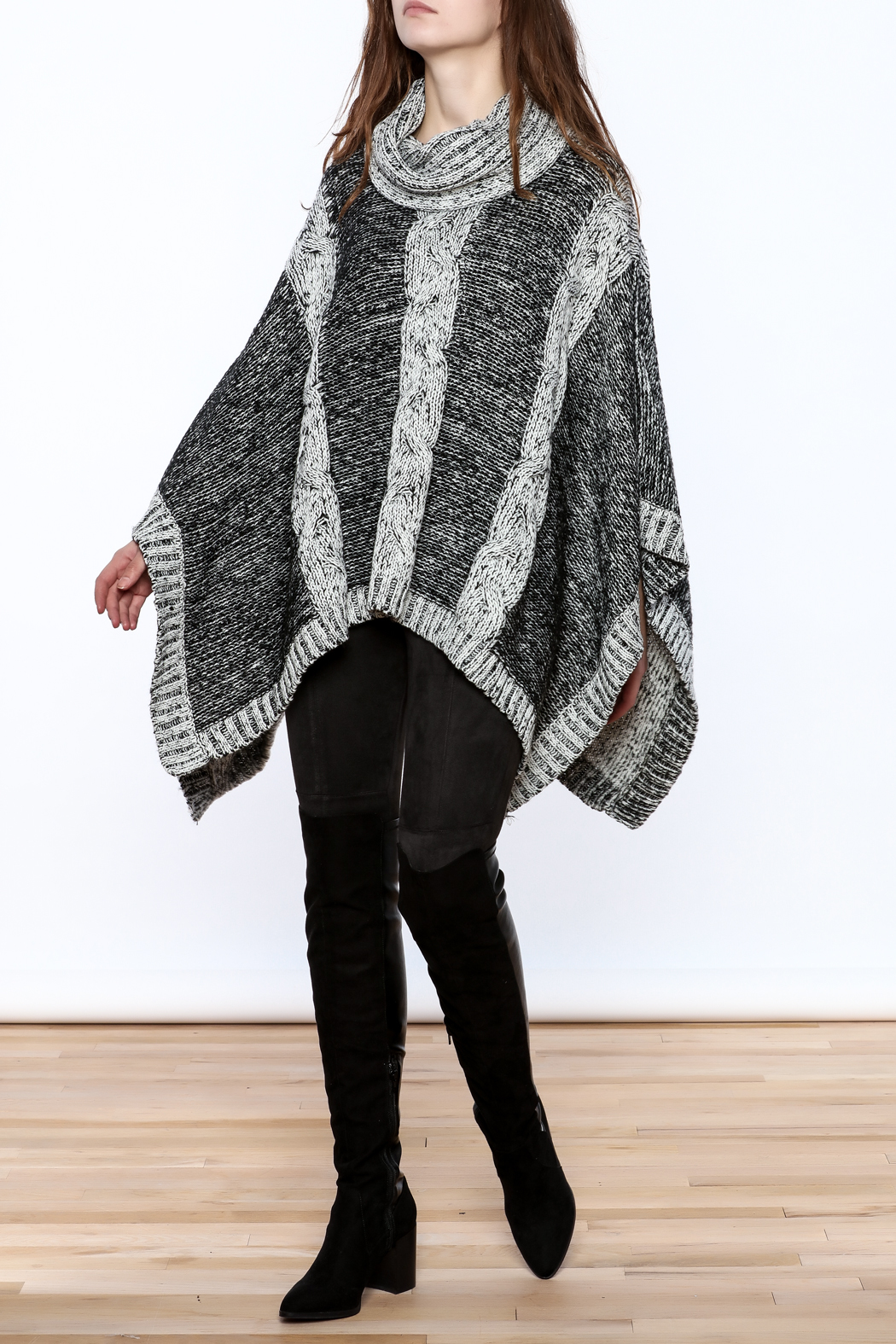 Elan Knitted Cowl Neck Poncho - Front Full Image