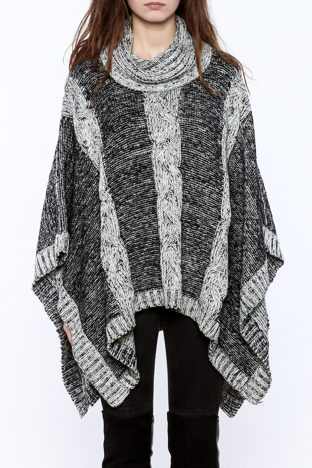 Elan Knitted Cowl Neck Poncho - Side Cropped Image