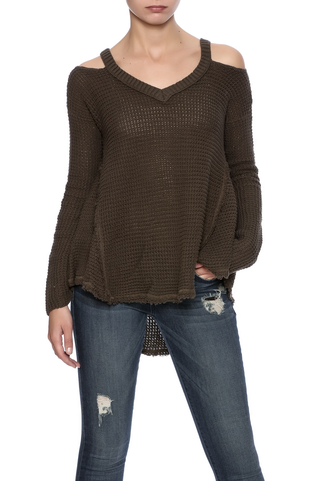 Elan V-Neck Cold Shoulder Sweater from California by ...