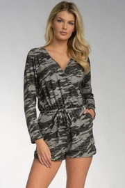 Elan Viera Pocketed Camo Romper - Front cropped
