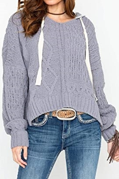 Elan Women's Cable Knit Chanille Pullover Hoodie Sweater - Product List Image
