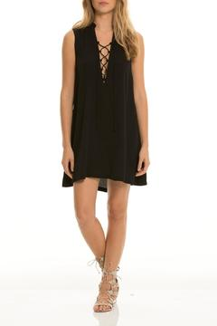 Shoptiques Product: Black Lace-Up Dress