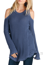 Elan Cold Shoulder Crew Sweater - Product Mini Image