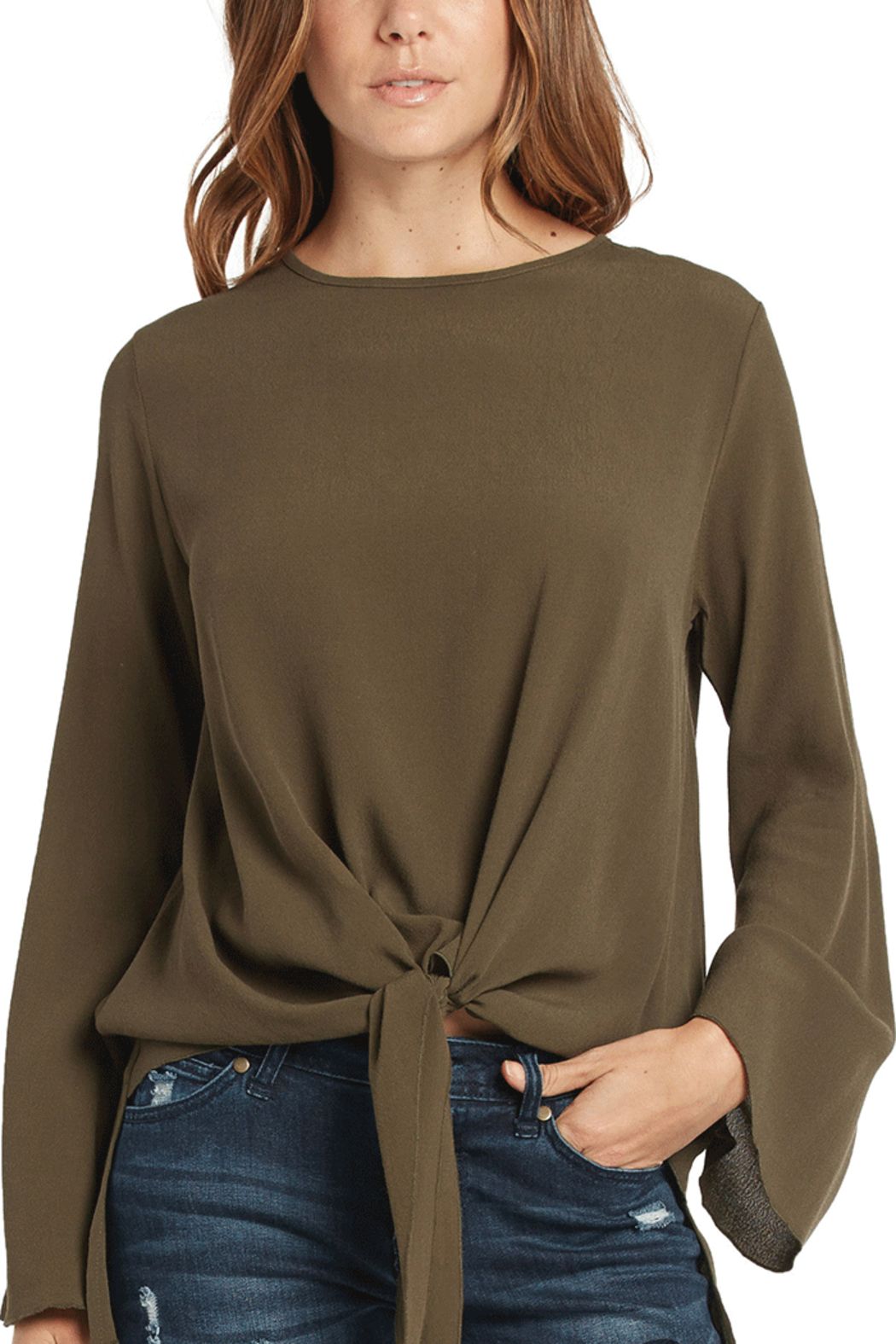 Elan Front Tie Top - Front Cropped Image