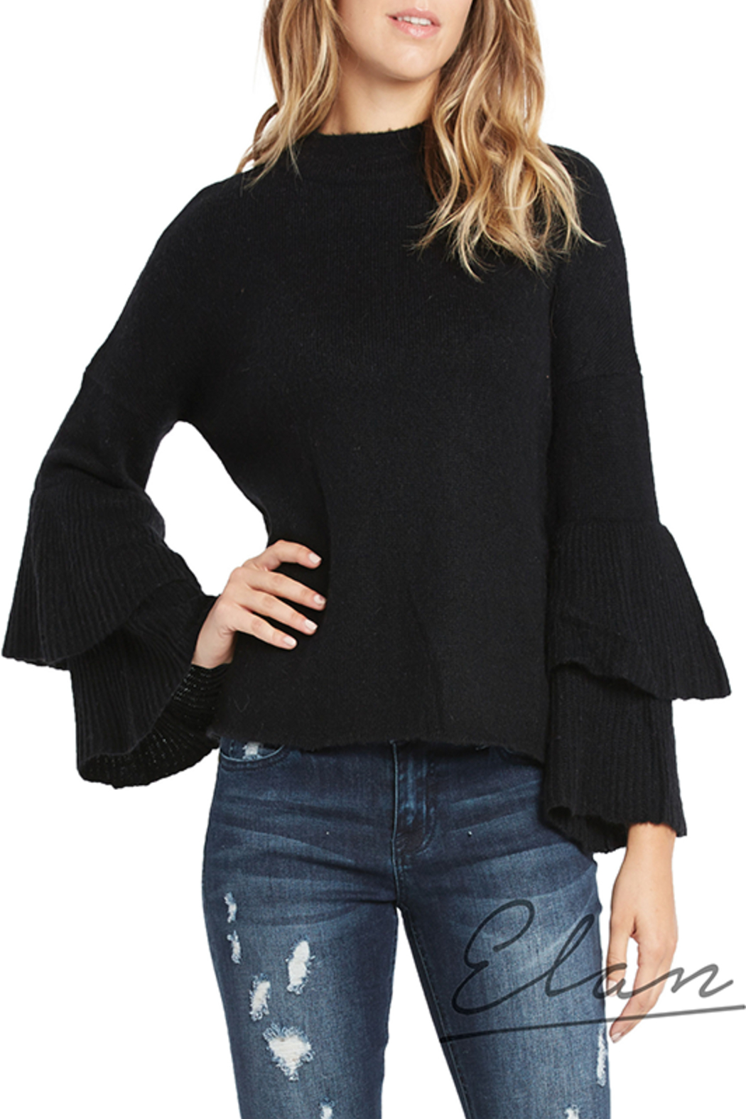 Elan Hi-Neck Ruffle Sleeve Sweater - Main Image