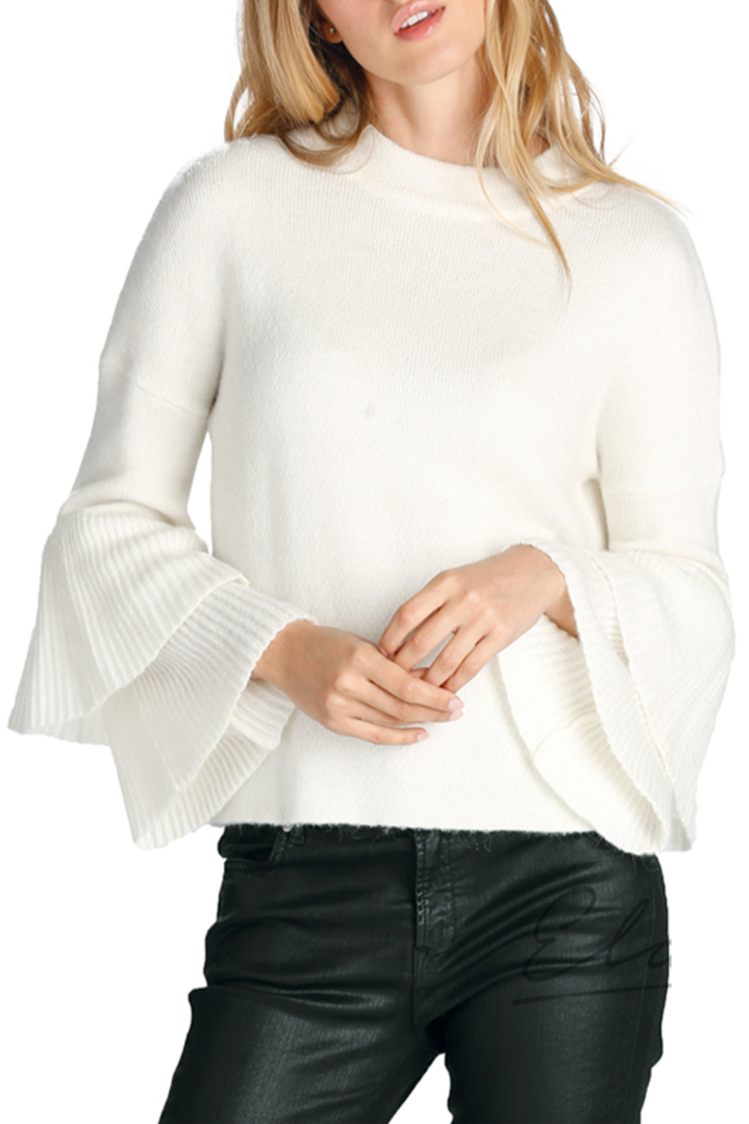 Elan Hi-Neck Ruffle Sleeve Sweater - Front Cropped Image