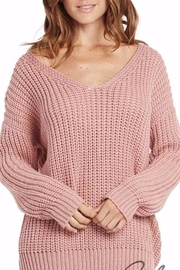 Elan International Lace Up Mauve Sweater - Product Mini Image