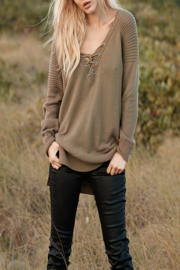 Elan Lace-Up Neck Sweater - Front cropped