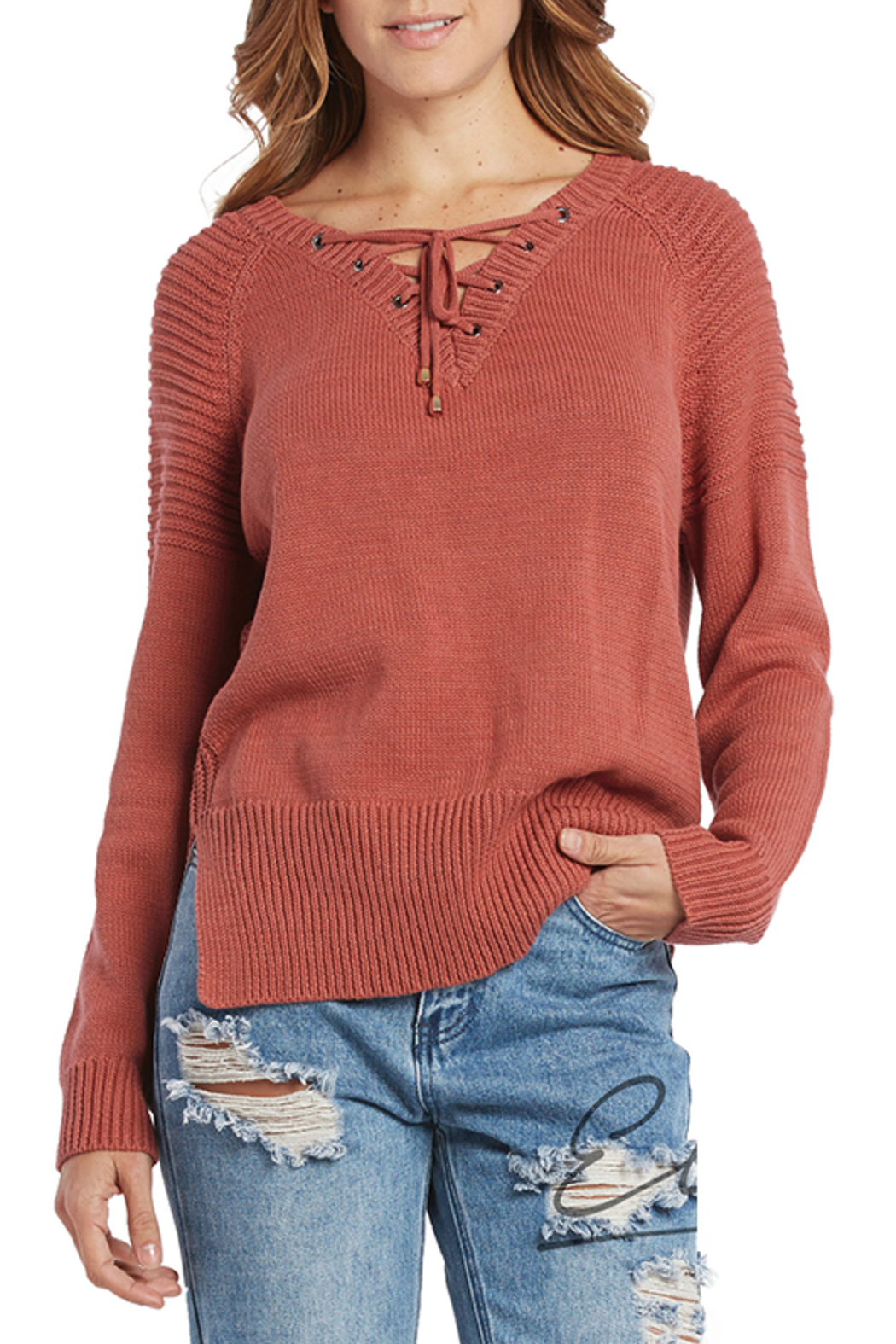 Elan Lace-Up Neck Sweater - Main Image