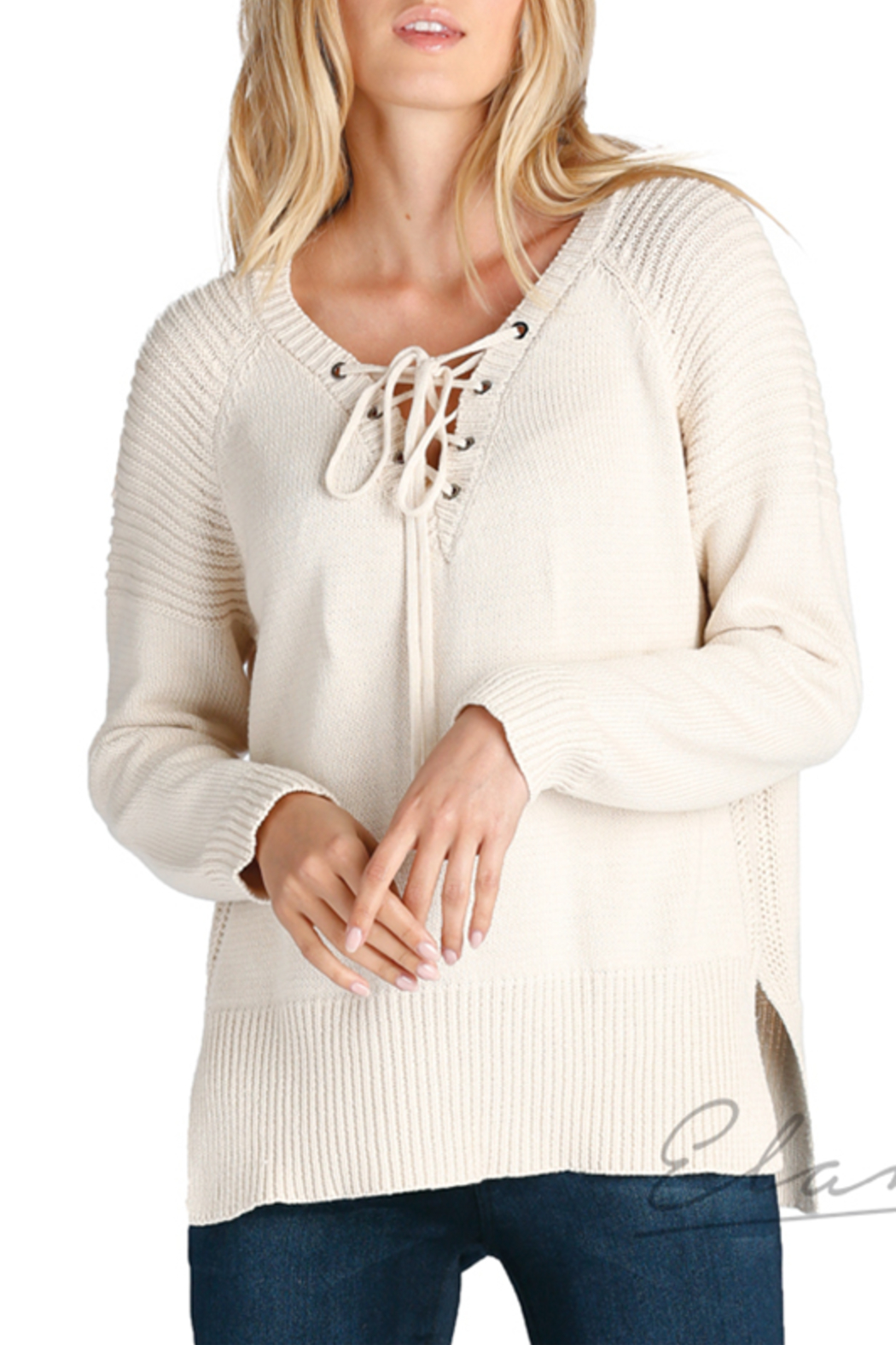 Elan Lace-Up Neck Sweater - Front Cropped Image