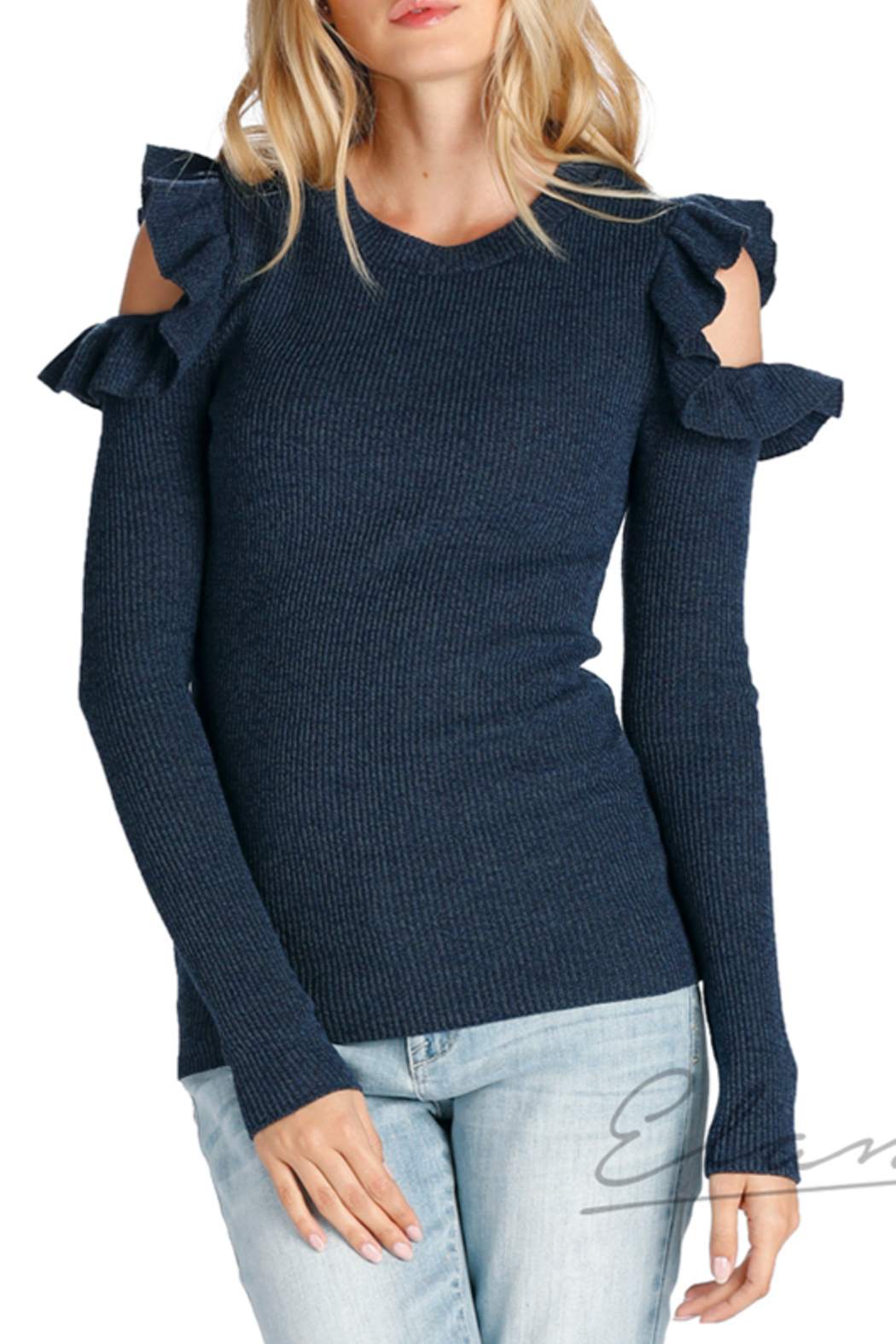 67e5206e634207 Elan Ruffled Cold-Shoulder Sweater from New York City by FOR ...