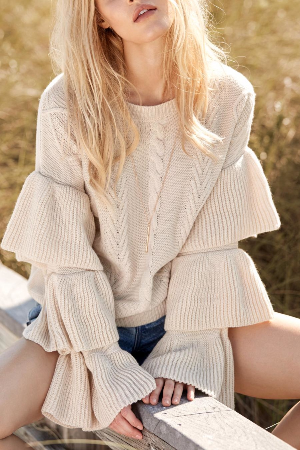 Elan International Sweater With Ruffles - Front Cropped Image