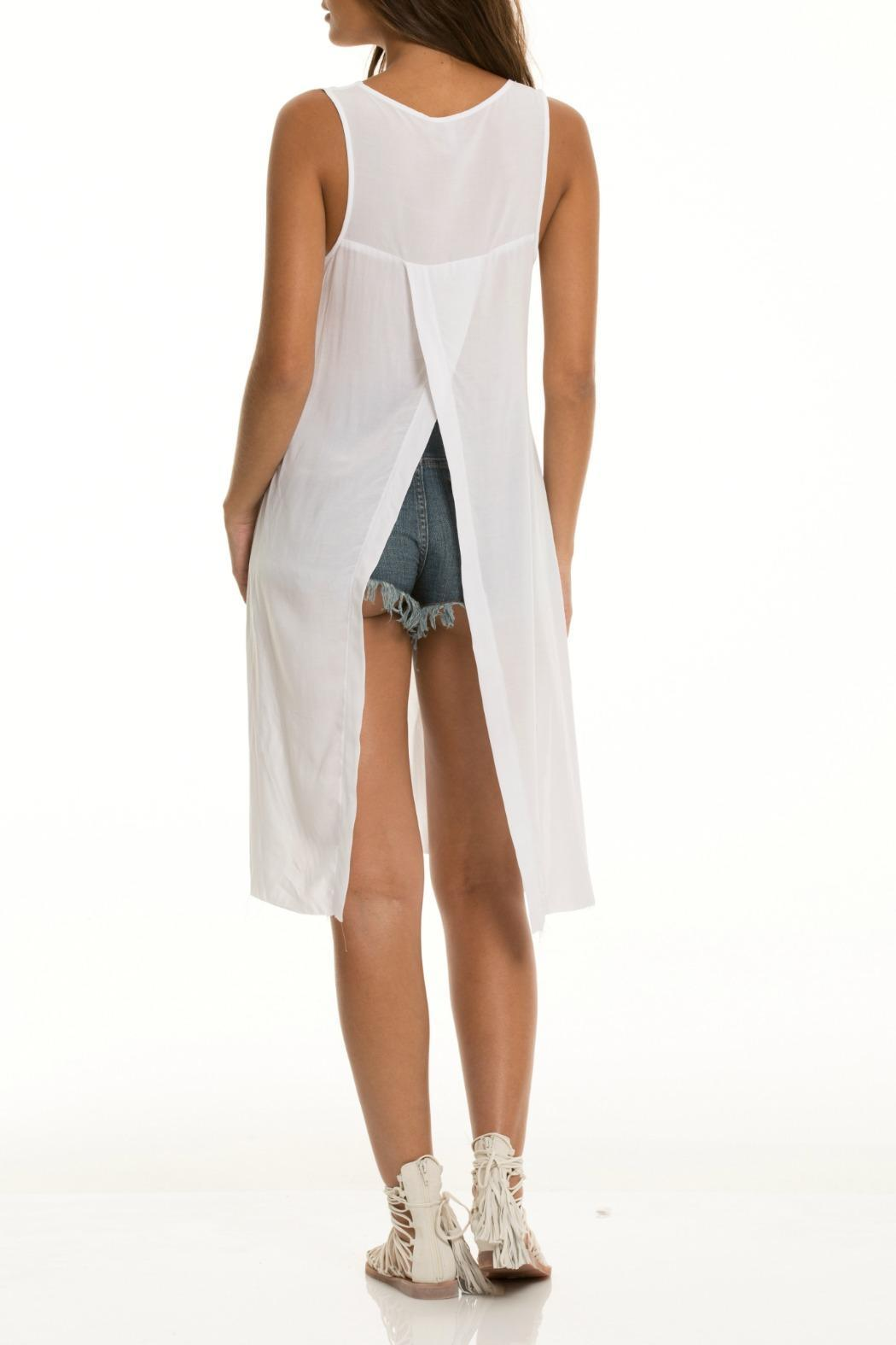 Elan White Sleeveless Tunic - Front Full Image