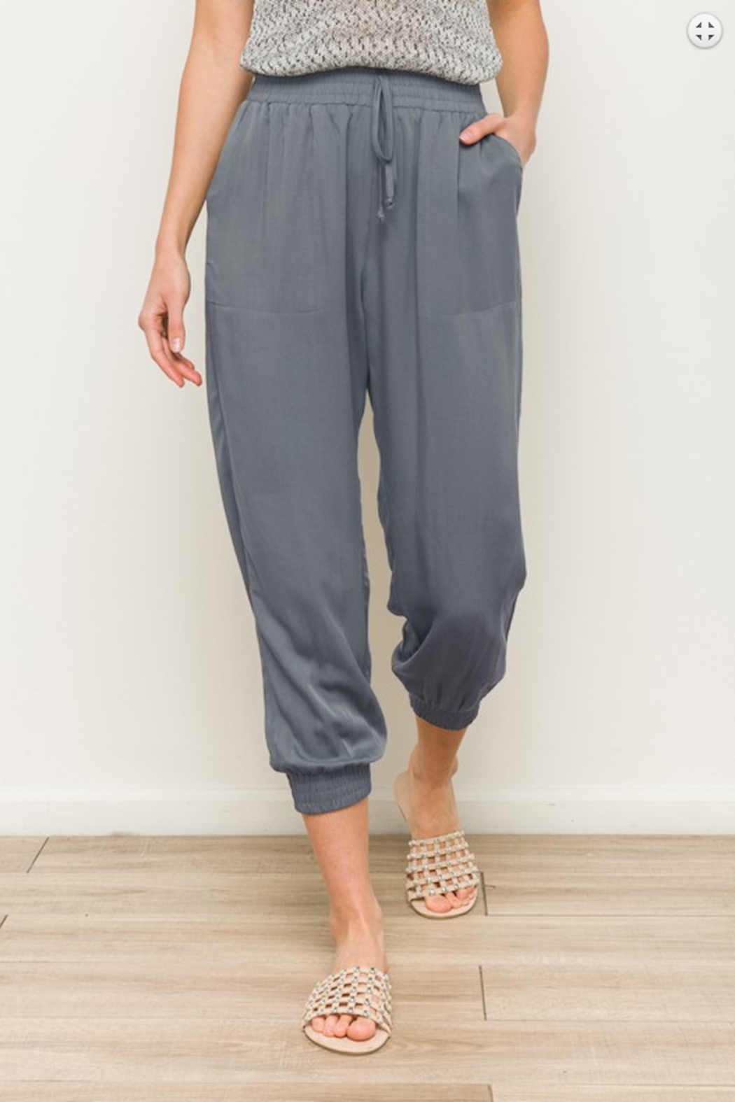 Hem and Thread Elastic Waist Jogger Nonadjustable - Front Cropped Image