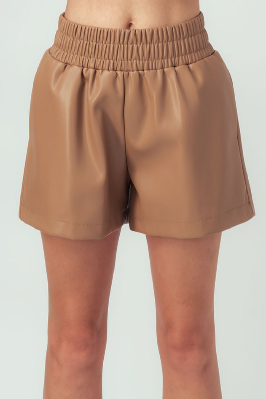 Aaron & Amber Elastic Waist Leather Short - Front Cropped Image