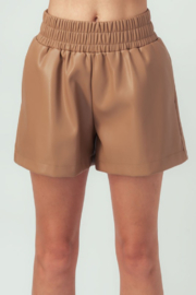 Aaron & Amber Elastic Waist Leather Short - Front cropped