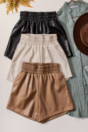 Aaron & Amber Elastic Waist Leather Short - Side cropped
