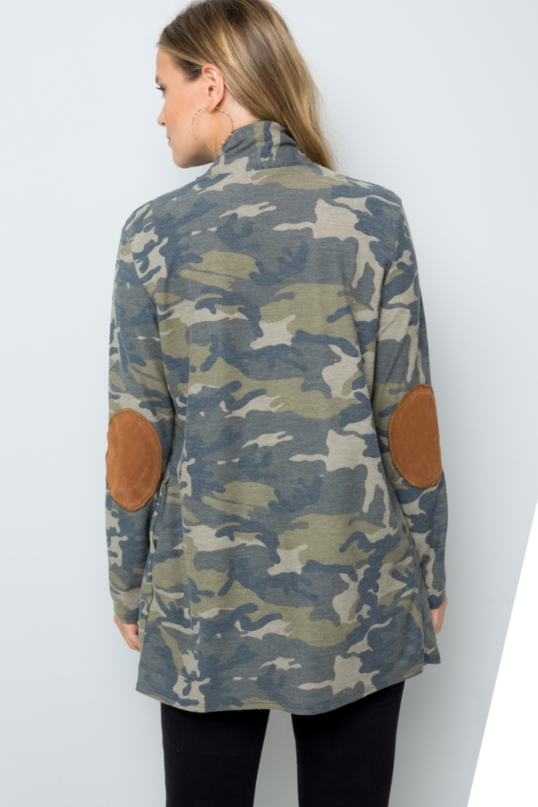 Lyn -Maree's Elbow Patch Camo Cardi - Main Image