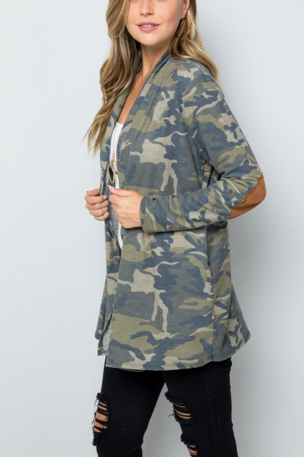 Lyn -Maree's Elbow Patch Camo Cardi - Front Cropped Image