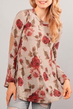 Chris & Carol Elbow Patch Floral-Tunic - Product List Image